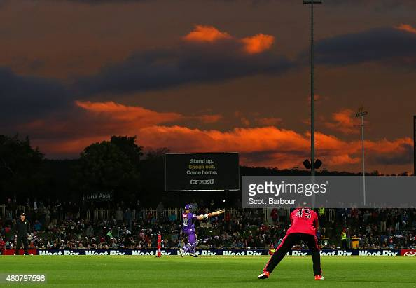 George Bailey of the Hurricanes bats during the Big Bash League match between the Hobart Hurricanes and the Sydney Sixers at Blundstone Arena on...