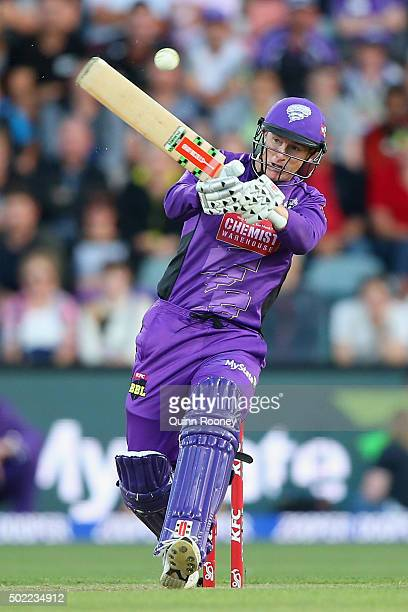 George Bailey of the Hurricanes bats during the Big Bash League match between Hobart Hurricanes and Brisbane Heat at Blundstone Arena on December 22...