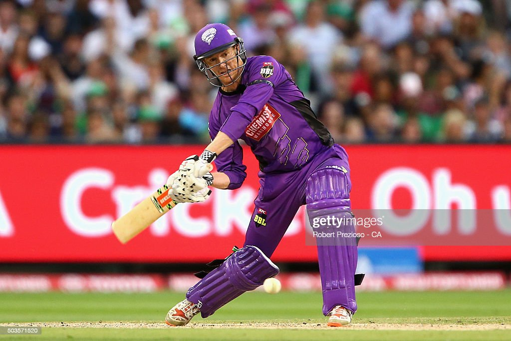 <a gi-track='captionPersonalityLinkClicked' href=/galleries/search?phrase=George+Bailey+-+Cricket+Player&family=editorial&specificpeople=9737020 ng-click='$event.stopPropagation()'>George Bailey</a> of the Hurricanes plays a shot during the Big Bash League match between the Melbourne Stars and the Hobart Hurricanes at Melbourne Cricket Ground on January 6, 2016 in Melbourne, Australia.