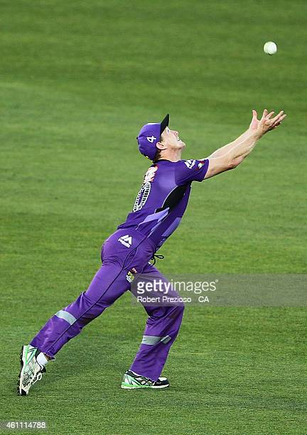 George Bailey of the Hurricanes takes a catch to dismiss Ben Stokes of the Renegades off the bowling of Cameron Boyce of the Hurricanes during the...
