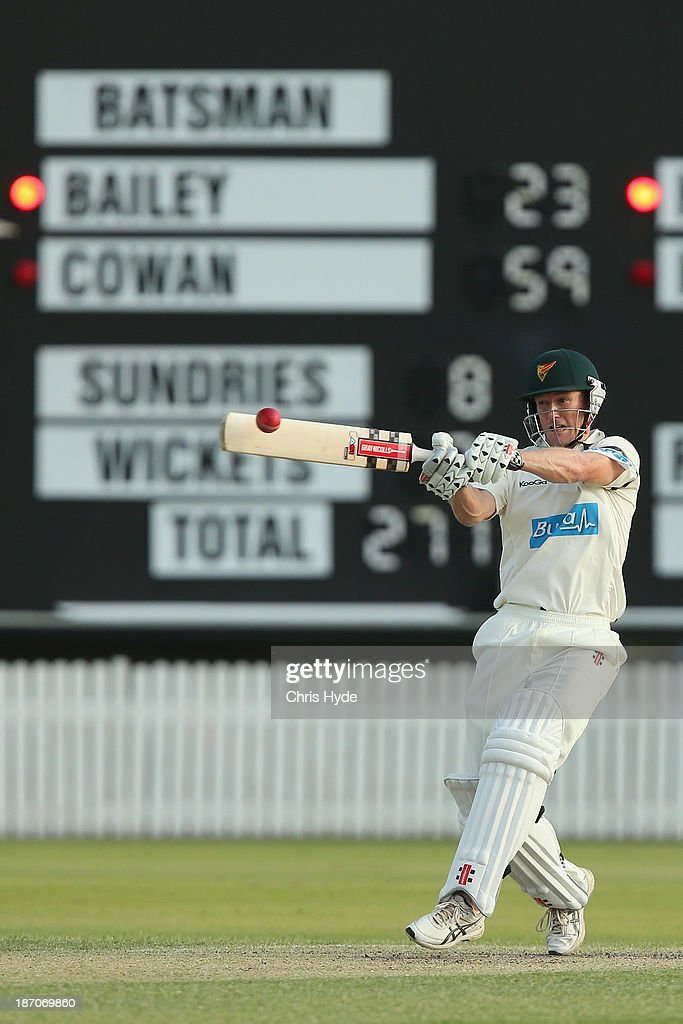 George Bailey of the Tigers bats during day one of the Sheffield Shield match between the Queensland Bulls and the Tasmania Tigers at Allan Border Field on November 6, 2013 in Brisbane, Australia.