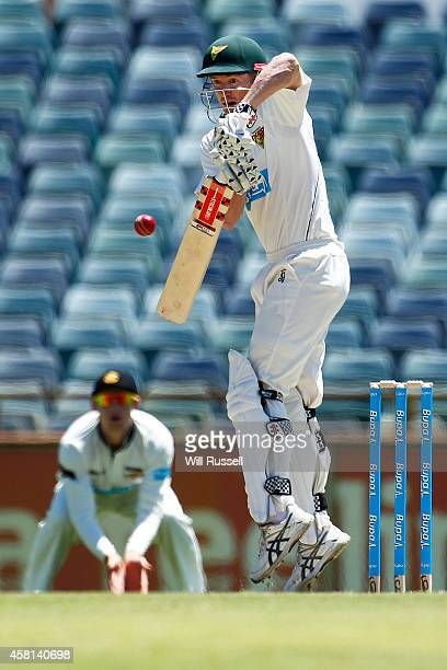George Bailey of the Tigers bats during day one of the Sheffield Shield match between Western Australia and Tasmania at WACA on October 31 2014 in...