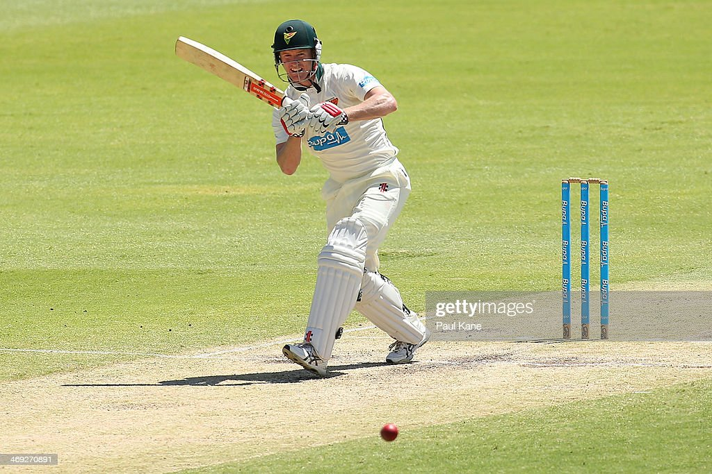 George Bailey of the Tigers bats during day three of the Sheffield Shield match between the Western Australia Warriors and the Tasmania Tigers at the WACA on February 14, 2014 in Perth, Australia.