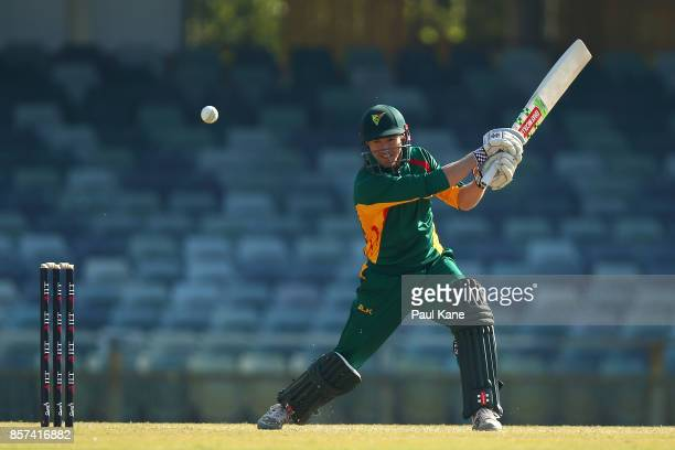 George Bailey of the Tigers bats during the JLT One Day Cup match between Victoria and Tasmania at WACA on October 4 2017 in Perth Australia