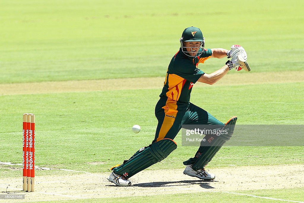 George Bailey of the Tigers bats during the Ryobi One Day Cup match between the Western Australia Warriors and the Tasmanian Tigers at the WACA on February 19, 2013 in Perth, Australia.
