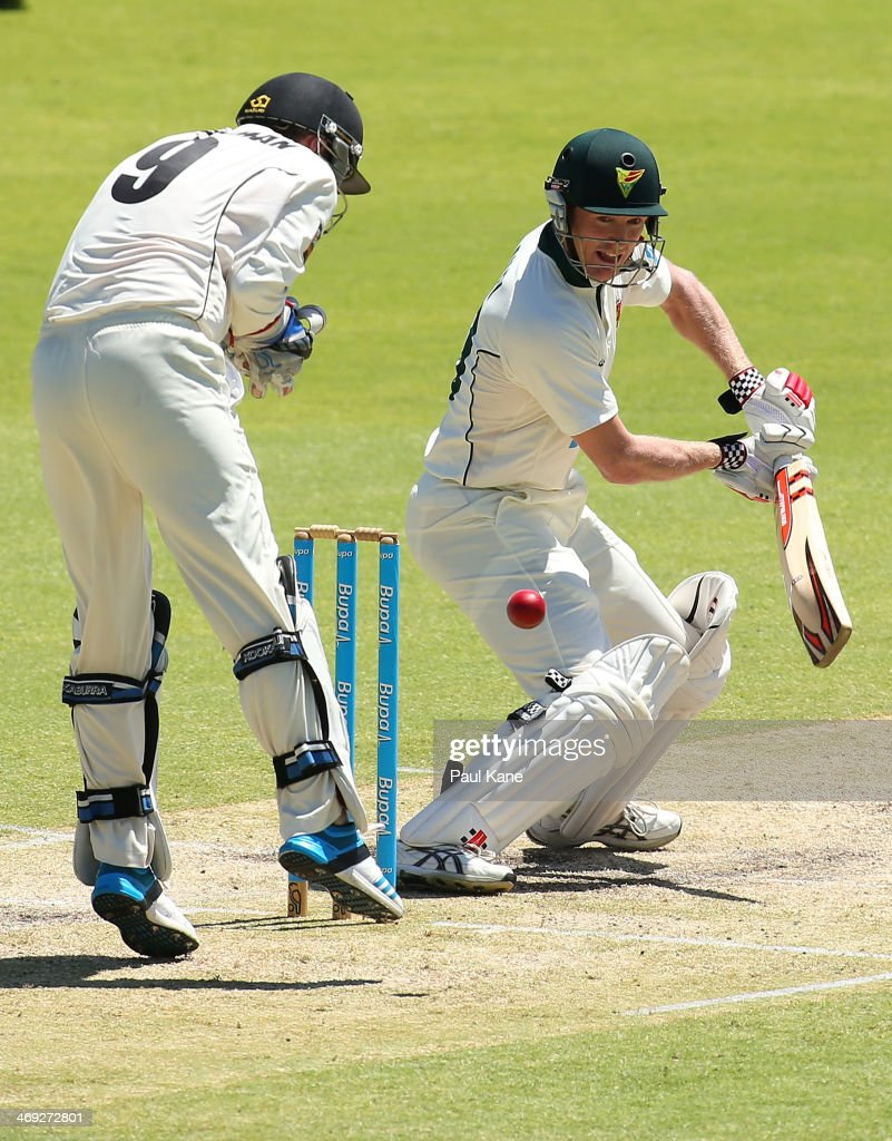 George Bailey of the Tigers edges the ball during day three of the Sheffield Shield match between the Western Australia Warriors and the Tasmania Tigers at the WACA on February 14, 2014 in Perth, Australia.