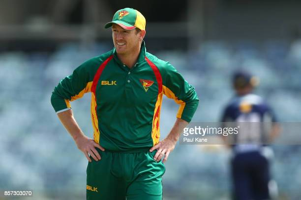 George Bailey of the Tigers looks on while fielding during the JLT One Day Cup match between Victoria and Tasmania at WACA on October 4 2017 in Perth...