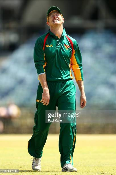 George Bailey of the Tigers reacts while fielding during the JLT One Day Cup match between Victoria and Tasmania at WACA on October 4 2017 in Perth...