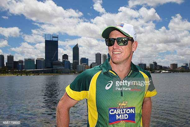 George Bailey poses onboard Blue Destiny during the Australia v South Africa One Day International Series launch on the Swan River on November 11...