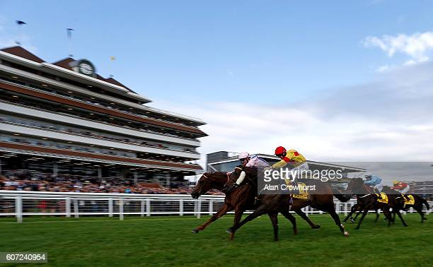 George Baker riding Cotai Clory win The Dubai International Airport World Trophy Stakes at Newbury Racecourse on September 17 2016 in Newbury England
