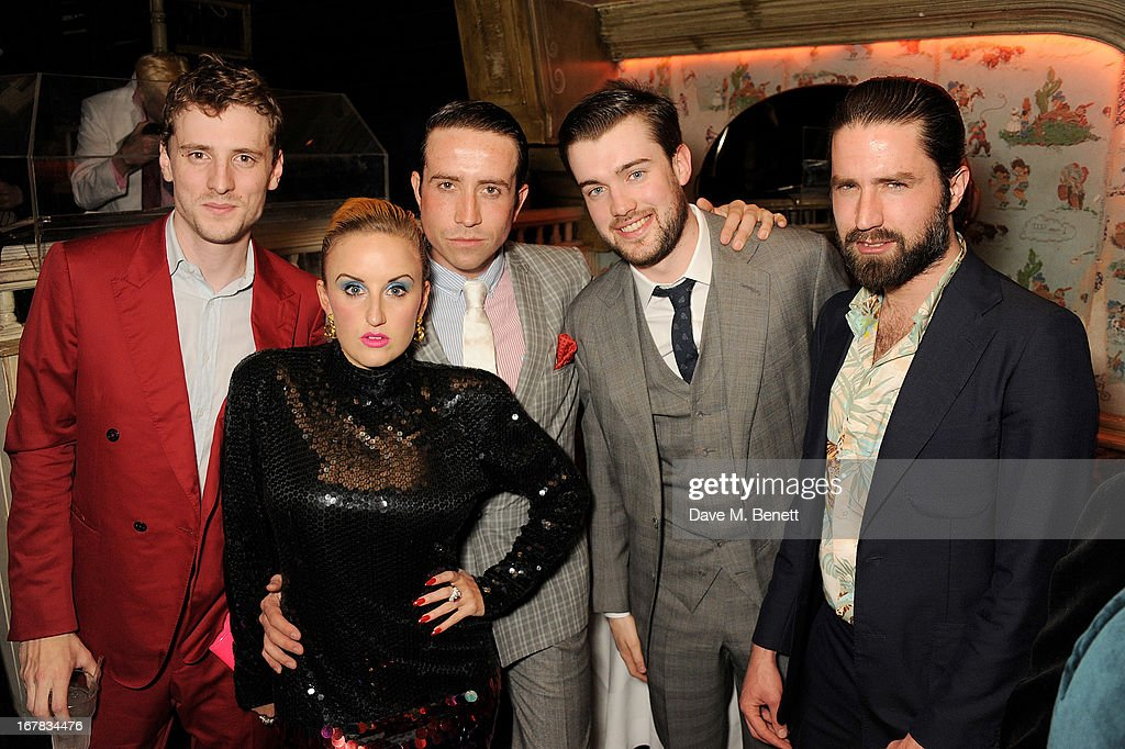 George Barnett, Aimee Phillips, <a gi-track='captionPersonalityLinkClicked' href=/galleries/search?phrase=Nick+Grimshaw&family=editorial&specificpeople=4666727 ng-click='$event.stopPropagation()'>Nick Grimshaw</a>, <a gi-track='captionPersonalityLinkClicked' href=/galleries/search?phrase=Jack+Whitehall&family=editorial&specificpeople=5726669 ng-click='$event.stopPropagation()'>Jack Whitehall</a> and Jack Guinnness attend Fran Cutler's surprise birthday party supported by ABSOLUT Elyx at The Box Soho on April 30, 2013 in London, England.