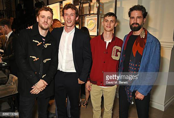 George Barnett Callum Turner Josh Ludlow and Jack Guinness attend the Burberry LCM event at 121 Regent Street hosted by Christopher Bailey Burberry...