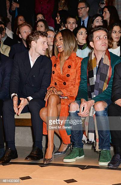 George Barnett Jourdan Dunn and Nick Grimshaw attends the front row at Burberry Prorsum AW15 London Collections Men at Kensington Gardens on January...