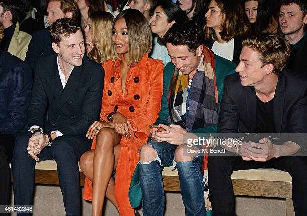 George Barnett Jourdan Dunn Nick Grimshaw and Ben Nordberg attend the front row at Burberry Prorsum AW15 London Collections Men at Kensington Gardens...