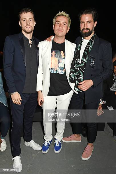George Barnett Nick Grimshaw and Jack Guinness attend the TOPMAN Design show during The London Collections Men SS17 at the Topman Show Space on June...