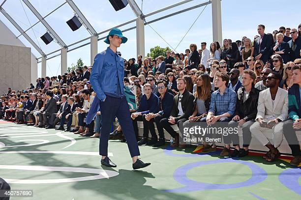 George Barnett Nick Grimshaw Sam Reid Jourdan Dunn George MacKay Tom Felton Tinie Tempah and Greg James sit in the front row at Burberry Prorsum SS15...
