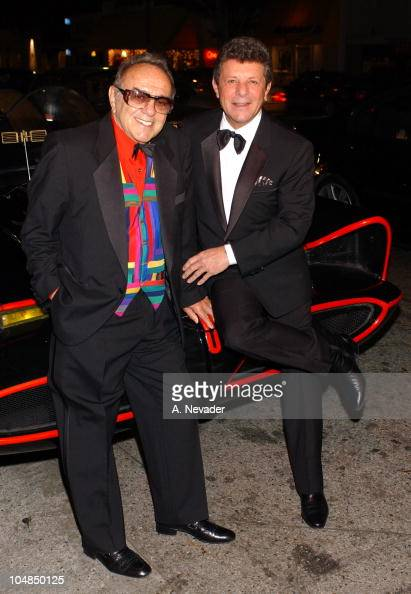 George Barris and Frankie Avalon on the Batmobile during 1st Annual Golden Youth Awards Gala at The Friars Club in Beverly Hills California United...