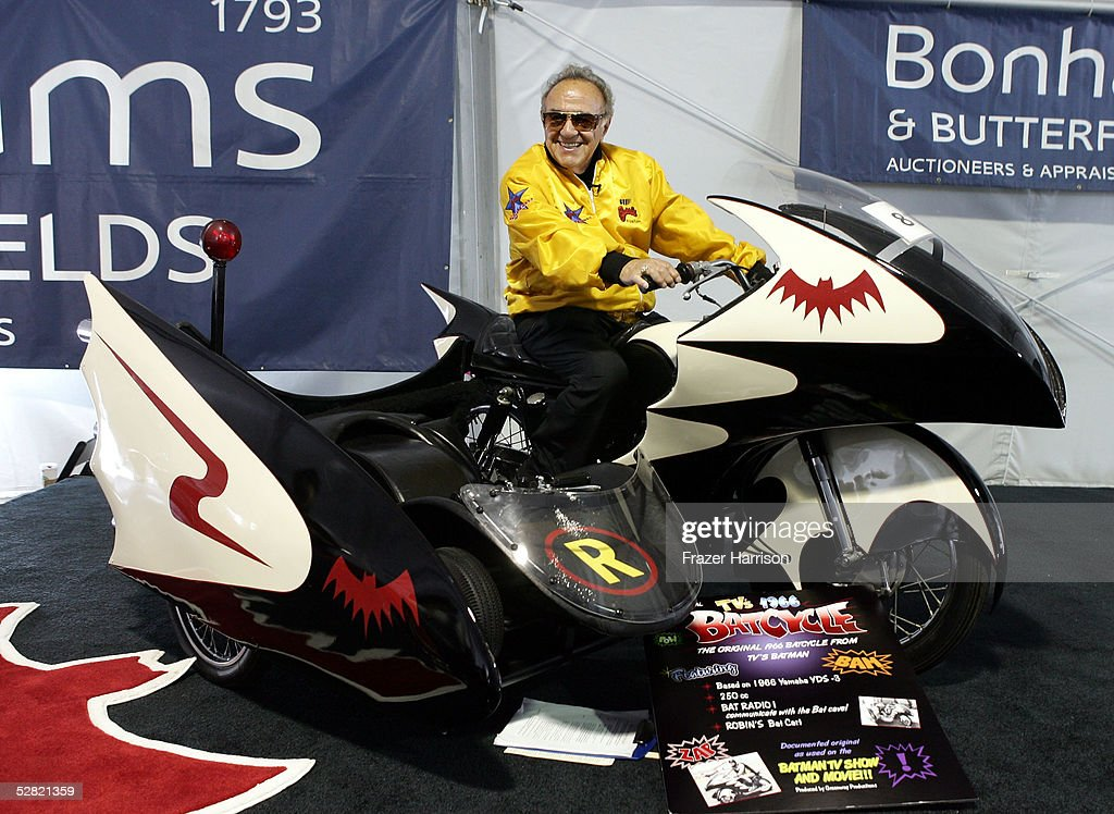 George Barris sits atop the Batcycle at the Barris Star Car Collection Auction at the Petersen Automotive Museum on May 13, 2005 in Los Angeles, California.