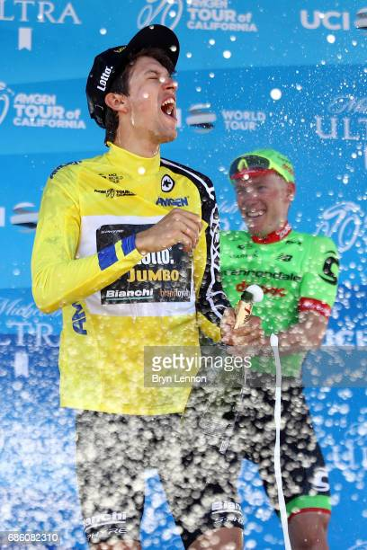 George Bennett of New Zealand and LottoNLJumbo celebrates with champagne after winning the 2017 AMGEN Tour of California on May 20 2017 in Pasadena...