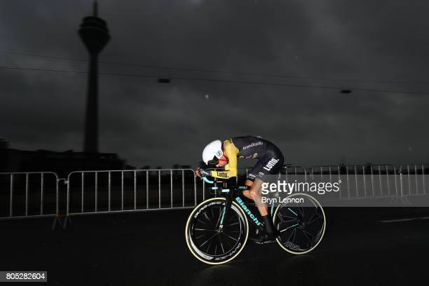 George Bennett of New Zealand and Team LottoNlJumbo competes during stage one of Le Tour de France 2017 a 14km individual time trial on July 1 2017...