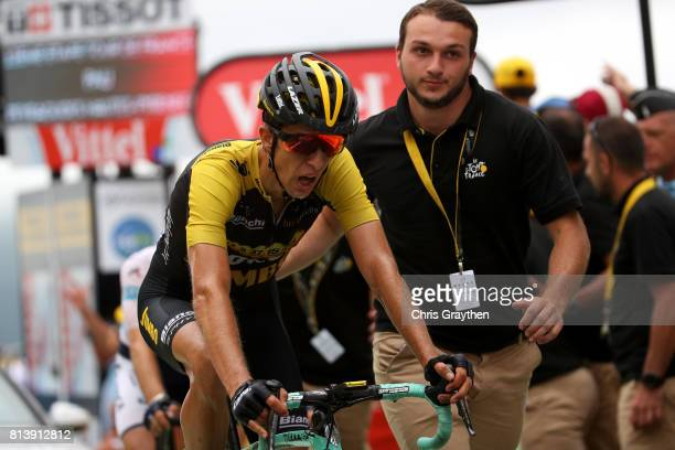 George Bennett of New Zealand riding for Team Lotto NLJumbo crosses the finish line during stage 12 of the 2017 Le Tour de France a 2145km stage from...