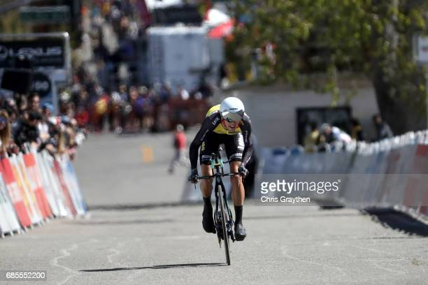 George Bennett of New Zealand riding for Team Lotto NLJumbo finishes stage five of the AMGEN Tour of California from Ontario to Mt Baldy on May 18...