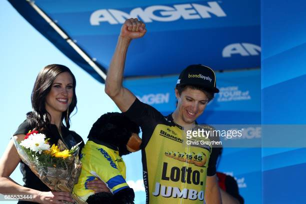George Bennett of New Zealand riding for Team Lotto NLJumbo in the AMGEN Race Leader Jersey poses for a photo on stage after stage five of the AMGEN...