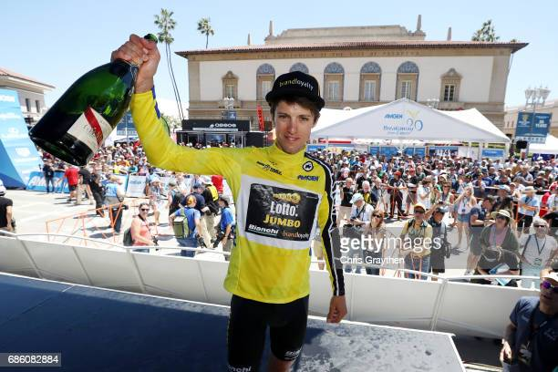 George Bennett of New Zealand riding for Team Lotto NLJumbo in the AMGEN Race Leader Jersey celebrates after winning the 2017 AMGEN Tour of...