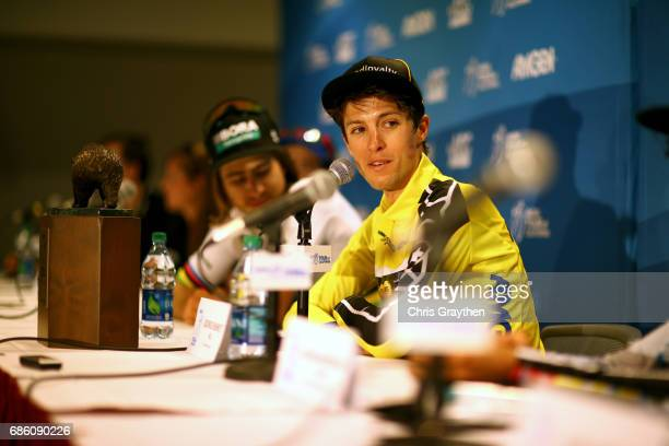 George Bennett of New Zealand riding for Team Lotto NLJumbo in the AMGEN Race Leader Jersey speaks a press conference following stage 7 of the 2017...