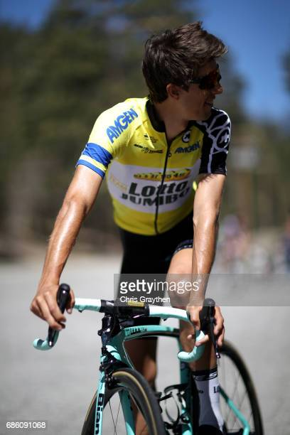 George Bennett of New Zealand riding for Team Lotto NLJumbo in the AMGEN Race Leader jersey prepares to start stage 7 of the 2017 AMGEN Tour of...