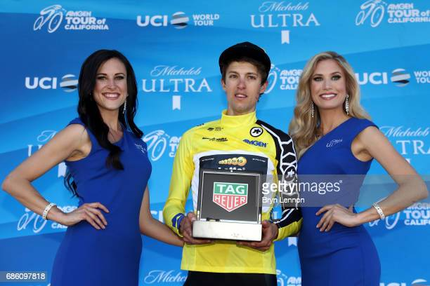 George Bennett of New Zealand riding for Team Lotto NLJumbo in the AMGEN Race Leader jersey poses for a photo on the stage following the 2017 AMGEN...