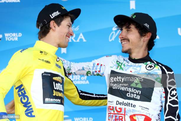 George Bennett of New Zealand riding for Team Lotto NLJumbo in the AMGEN Race Leader jersey and Lachlan Morton of Australia riding for Team Dimension...