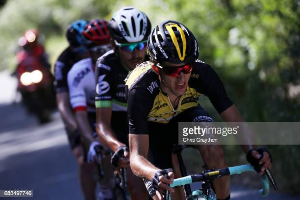 George Bennett of New Zealand riding for Team Lotto NLJumbo rides in the breakaway during stage two of the AMGEN Tour of California from Modesto to...