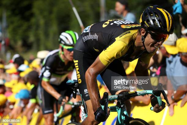 George Bennett of New Zealand riding for Team Lotto NLJumbo rides during stage five of the 2017 Le Tour de France a 1605km stage from Vittel to La...