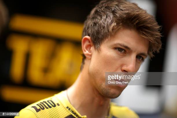 George Bennett of New Zealand riding for Team Lotto NLJumbo talks to the media during stage 13 of the 2017 Le Tour de France a 101km stage from...