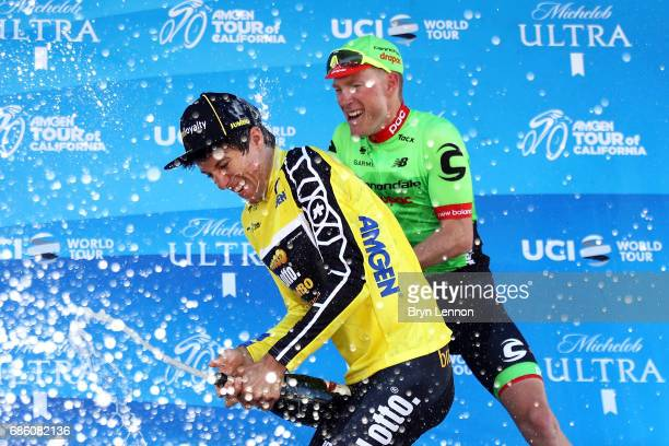 George Bennnett of New Zealand and LottoNLJumbo celebrates with champagne after winning the 2017 AMGEN Tour of California on May 20 2017 in Pasadena...