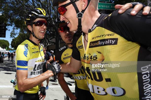 George Bennnett of New Zealand and LottoNLJumbo is congratulated by team mate Robert Gesink of The Netherlands after winning the 2017 AMGEN Tour of...