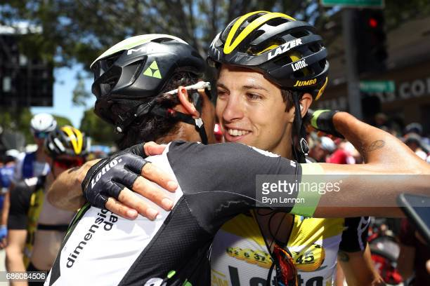 George Bennnett of New Zealand and LottoNLJumbo is congratulated after winning the 2017 AMGEN Tour of California on May 20 2017 in Pasadena California