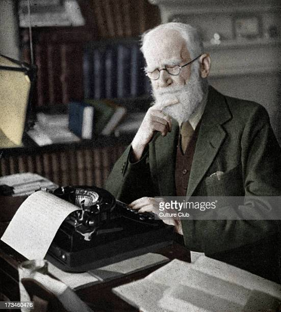 George Bernard Shaw portrait of the Irish dramatist critic and Nobel Prize winner typing at his desk Whitehall Theatre Programme 'The Doctor's...