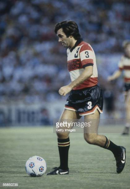 George Best of the Fort Lauderdale Strikers runs with the ball during a NASL League match held in 1978 at the Lockhart Stadium in Fort Lauderdale...