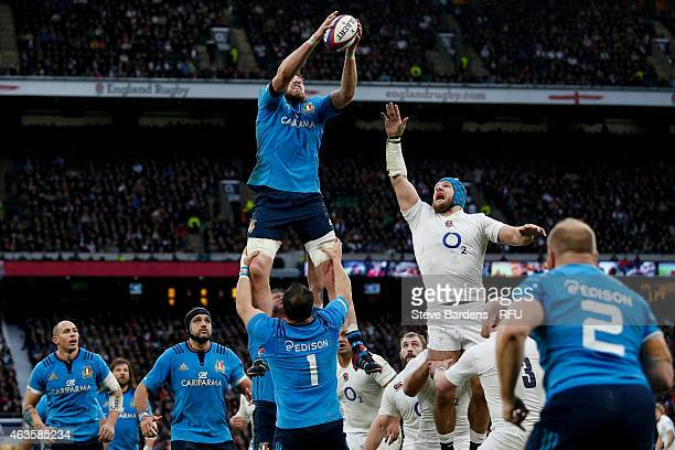 George Biagi of Italy wins lineout ball under pressure from James Haskell of England during the RBS Six Nations match between England and Italy at...
