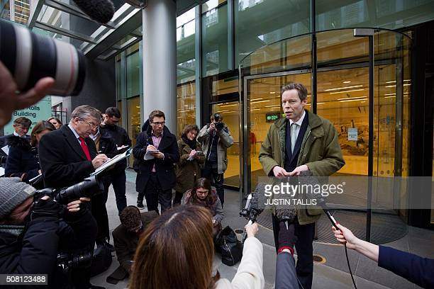 George Bingham son of the infamous British aristocrat Lord Lucan reacts as he leaves the High Court in central London on February 3 2016 A British...