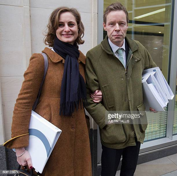 George Bingham the only son of the infamous British aristocrat Lord Lucan and his wife AnneSofie Foghsgaard pose for a photograph as they leave the...