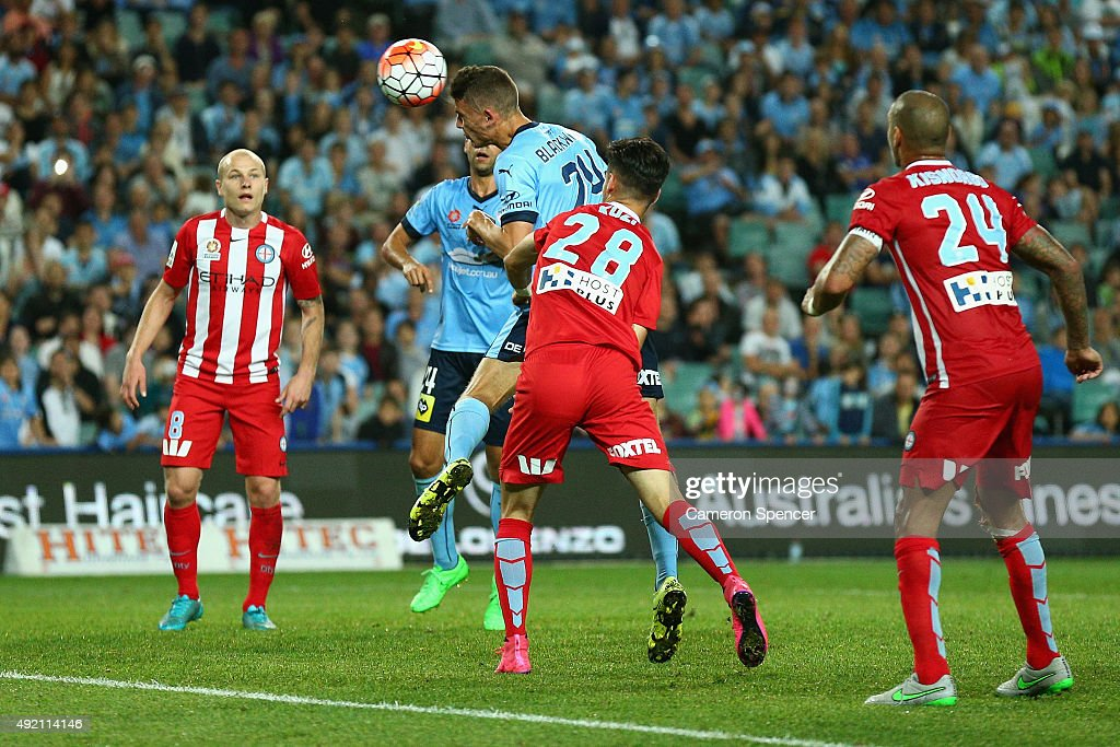 George Blackwood of Sydney FC heads the ball during the round one A-League match between Sydney FC and Melbourne City FC at Allianz Stadium on October 10, 2015 in Sydney, Australia.