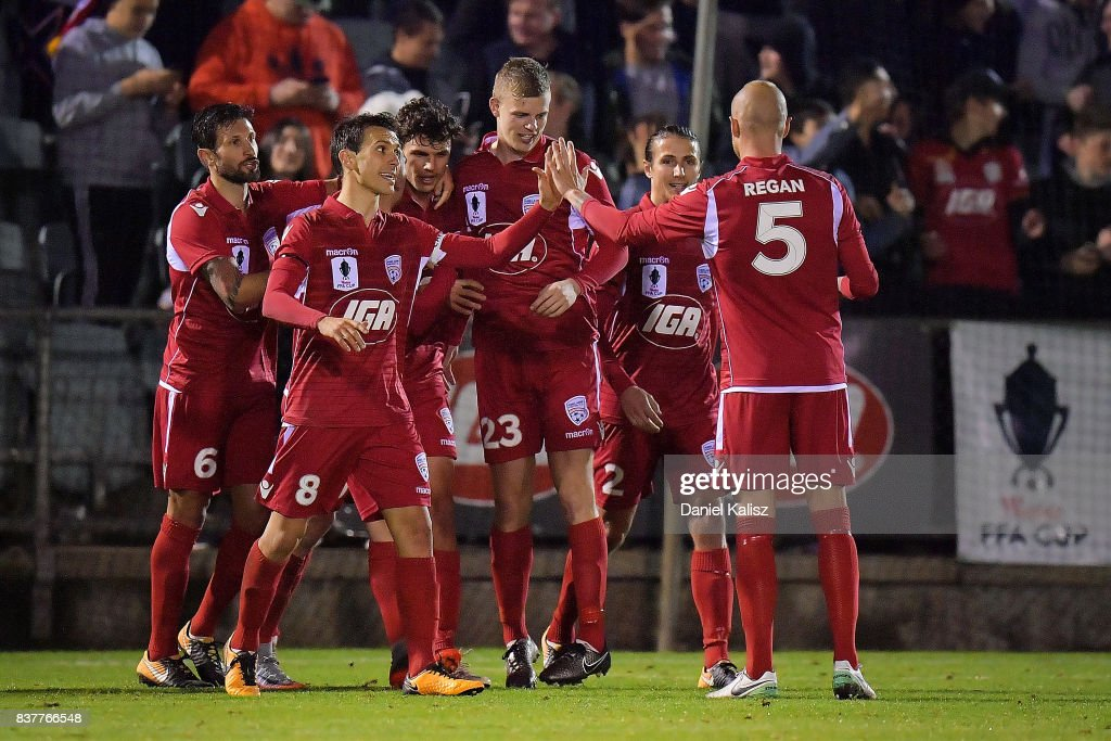 George Blackwood of United celebrates after scoring a goal from a penalty kick during the round of 16 FFA Cup match between Adelaide United and Melbourne Victory at Marden Sports Complex on August 23, 2017 in Adelaide, Australia.