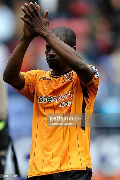 George Boateng of Hull shows his dissapointment afterhis side are relagated during the Barclays Premier League match between Wigan Athletic and Hull...
