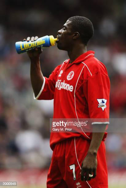 George Boateng of Middlesbrough enjoys a drink of Lucozade Sport during the FA Barclaycard Premiership match between Middlesbrough and Tottenham...