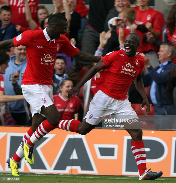 George Boateng of Nottingham celebrates after their second goal during the npower Championship match between Nottingham Forest and Leicester City at...