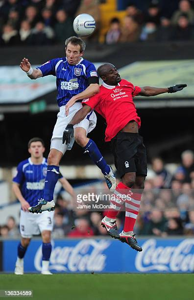 George Boateng of Nottingham Forest battles with Lee Bowyer of Ipswich Town during the npower Championship match between Ipswich Town and Nottingham...