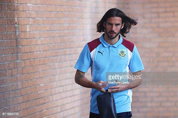 George Boyd of Burnley arrives at the stadium prior to kick off during the Premier League match between Burnley and Arsenal at Turf Moor on October 2...
